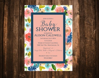 Navy & Coral Florals Baby Shower Invitation