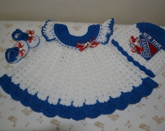 NY Rangers inspired dress, hat and booties