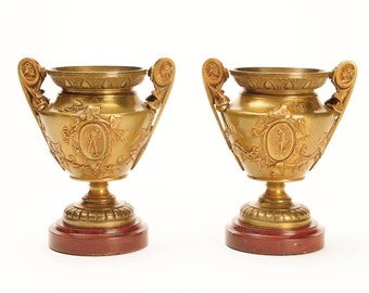 """Pair of Fabulous Figural Bronze French Neoclassical 5"""" Urns w/Marble Base"""