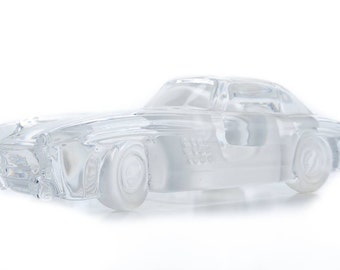 """Mercedes Gullwing Beautiful Vintage 7"""" carved Glass Crystal Model -NiCE!!"""