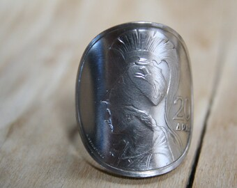 "GODDESS ""ATHENA"" coin ring with sterling band size 9 1/2"