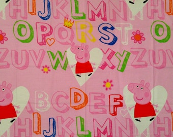 Peppa Pig Kids School Alphabets Pink Polycotton FABRIC - Different Sizes Available
