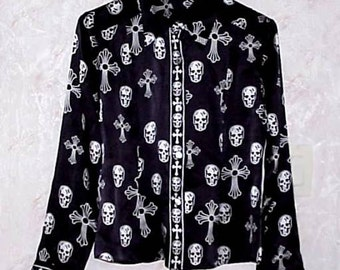 Very Unusual New Vintage SKULL BLOUSE with Crosses Small Size