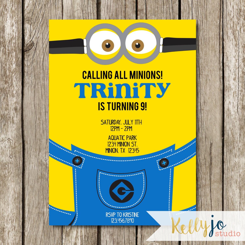 Minion Birthday Party Invitation Yellow Blue Minion Invite