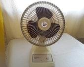 Vintage Electric Fan - 6 inches Brown Beige Personal Fan - Buffalo Adjustable Table Fan -
