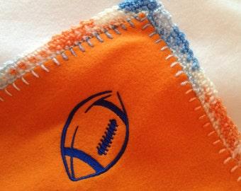Embroderied Football 16x16 Crochet Edge Fleece Baby Doll Blanket, #B16-58, 64