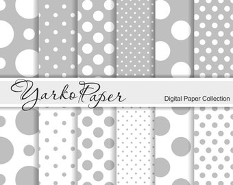 Grey And White Polka Dot Digital Paper Pack, Gray Scrapbook Paper, Digital Background, 12 Sheets, Personal And Commercial - Instant Download