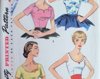 Vintage 50s Blouse and Top Pattern Simplicity 1202 Size 14