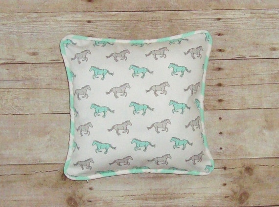 Horse pillow Cover / Mint horses / Grey Ponies / gift for horse lover / equestrian decor / running horses / mint and grey / mustangs / pony