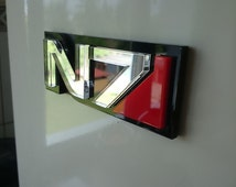 Car Badge Magnetic removable N7 Mass Effect // unique item N7 logotype // mirror acrylic letters