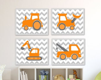 Baby Boy Nursery Art. Nursery Orange and Gray Chevron Work Vehicles Art Prints, Crane, Tractor, Tow Truck and Scoop-B126a,B127a,B128a,B129a