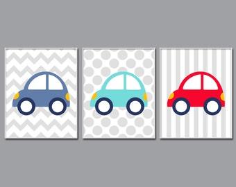 Car Nursery Wall Art Print, Blue and Red Cars Baby Art Print and Nursery Wall Art Prints Baby Boys Room Decor H254