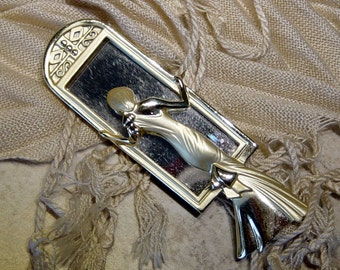 Lady in the Mirror Looking Glass Vintage Brooch