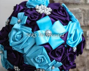 Fabric Bouquet, Ribbon bouquet, malibu blue bouquet, brooch bouquet, purple bouquet
