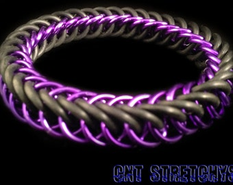 Chainmail Bracelet (HP Weave) Purple Stretchy