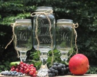 Unity Sand Set   Personalized  Mason Jars Redneck Wine Toasting Glasses   Established Mr. Mrs.  Sand Ceremony   Choice of Font & Lids
