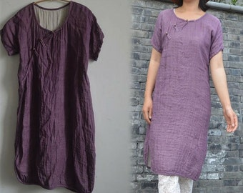 266---Linen Tunic Dress / Smock , Layered Linen, Made to order.