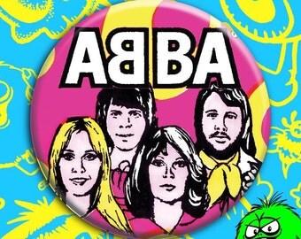 """SMALL/MEDIUM ABBA button (1.25"""" or 2.25"""" pinback) [pop music glam mamma mia]"""