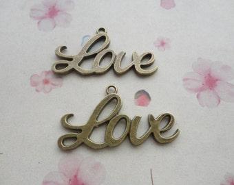 50pcs antique bronze metal love charms ,metal love pendant ,  40x22mm--CP637