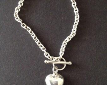 Vintage Sterling Heart Toggle Bracelet