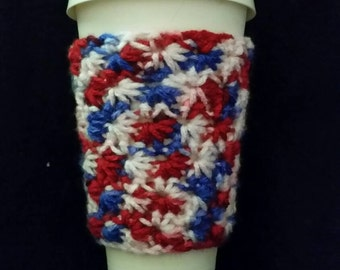 Star Stich Cup Cozy, Crochet, Red White, and Blue, Cup Sleeve
