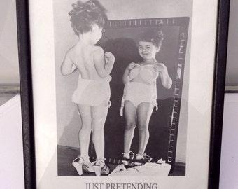 Vintage Black & White Framed Print - Just Pretending - Boudoir Print