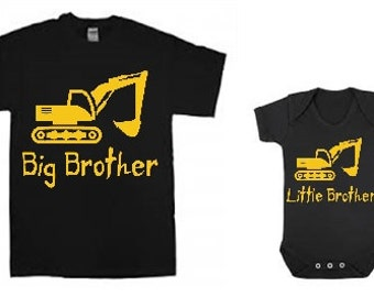 Big Brother Little Brother shirt and baby bodysuit combo SET of two with Digger / construction theme brother shirts / siblings