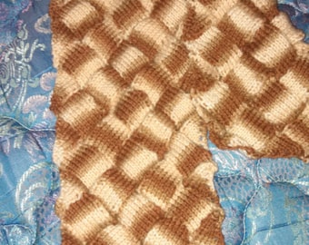 soft knitted entrelac scarf