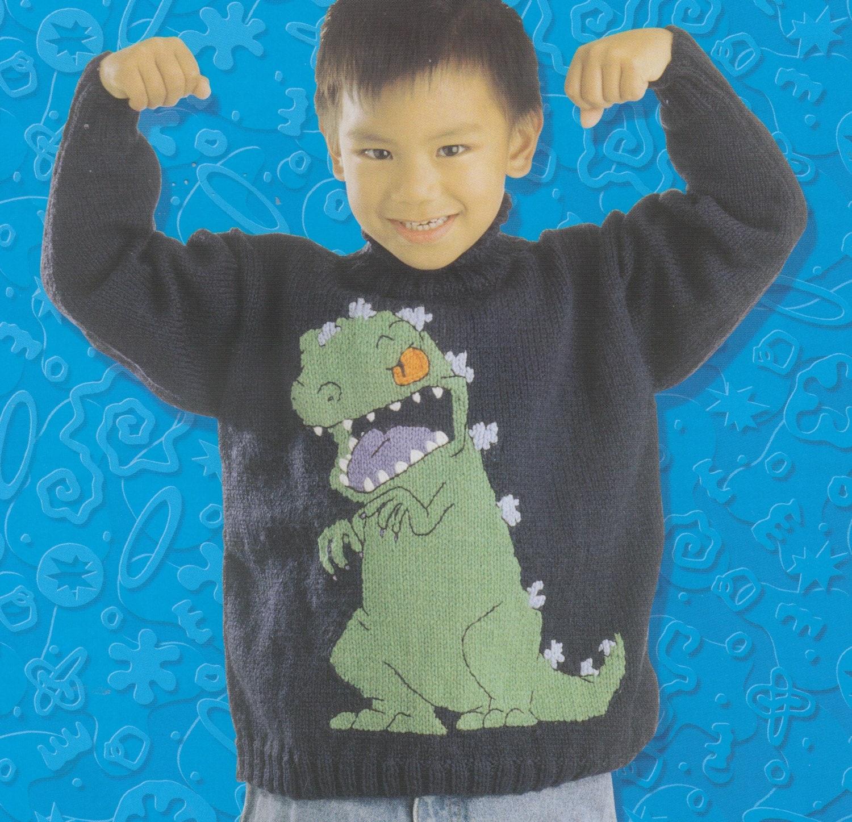 dinosaur jumper knitting pattern PDF vintage instarsia chart