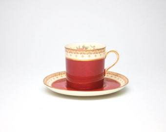 Aynsley Bone China Teacup and Saucer Set in Maroon with Gold Trim and Multicolored Florals - England