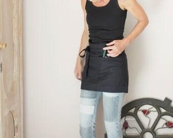 Black linen half apron, Pre washed bistro apron, Eco friendly