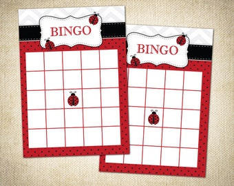 Ladybug Themed Baby Shower Bingo Cards (Fill Out Yourself) - Instant Download
