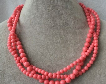 pink coral bead necklace, 3 strands coral pearl necklace, statement necklace, twist necklace, coral necklace, pink coral necklaces,wedding