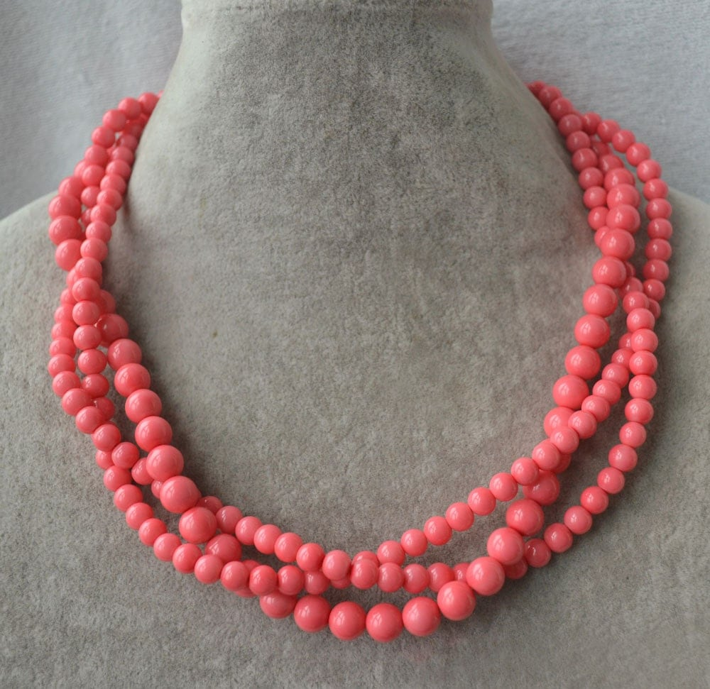 Pink Coral Bead Necklace 3 Strands Coral Pearl Necklace