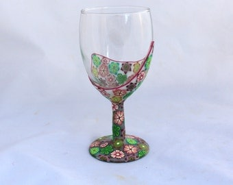 Decorative Wine Glass, Bat Mitzvah Gift,  Shabbat, Decorative glass