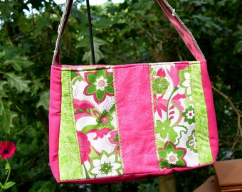 Little girl's Fabric Purse/ Just  like momma's only smaller / hot pinks / lime greens / shoulder strap/ ucycled materials/ OOAK/ 150028