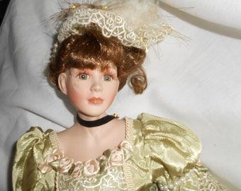 "22"" Old Fashioned Doll Green Gown Vintage Porcelain"