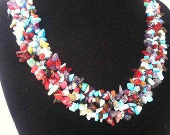 Mix stone choker necklace