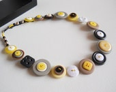 Button Necklace, Yellow Necklace, Black & White, Button Jewellery, Statement Necklace, Unique Necklace, Handmade Necklace, Quirky Necklace