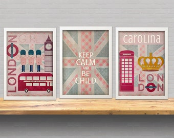 set of 3 art prints -Vintage london theme Illustration Art Print- home decor- kids decor- wall art illustration