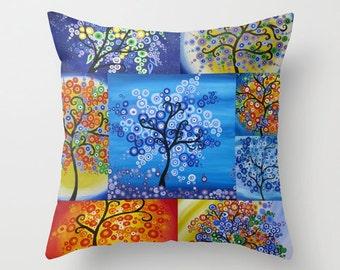 Tree art on a throw pillow, bright throw pillows, throw pillow cover, throw pillow covers, printed throw pillows, rainbow art, bright pillow