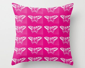 hot pink cushion covers for bright pink cushions, hot pink butterfly art, hot pink prints, butterflies in pink, moth art, pink and white art