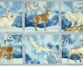 Winter White Fabric Animal Panel in FROST by Lynnea Washburn from Robert Kaufman Fabric