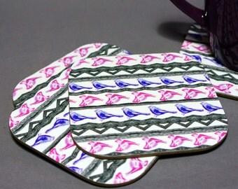 Pink Aztec Bird Pattern Coasters SALE WAS 13.00