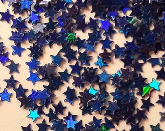 solvent-resistant glitter shapes-dark royal hologram extra-small stars