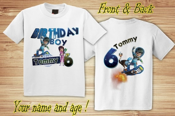 Miles from Tomorrowland Birthday Front and Back T Shirt Personalized