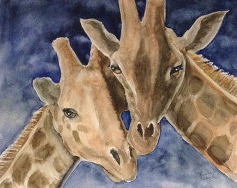 "This is a print of my original watercolor painting titled :Giraffe Love"". Available in 5x7, 8x10, 11x14,16x20, wrapped canvas and note cards"