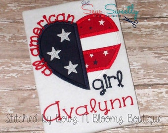 All American Girl Heart Applique Design - Embroidery Machine Pattern 4th of July Fourth