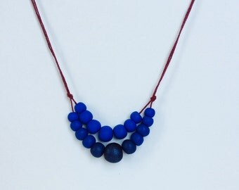 Double Strand Navy Blue and Cobalt Ombre Polymer Bead Necklace
