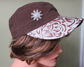Stonewashed Brown Military Cadet With Hand Tooled Leather Brim